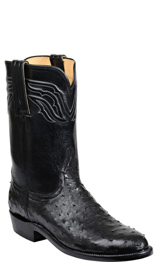 Lucchese Augustus Mens Black Full Quill Ostrich Roper Boots GY3006 Classics