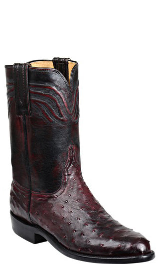Lucchese AUGUSTUS GY3008 Mens Black Cherry Full Quill Ostrich Boots