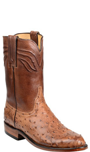 Lucchese Augustus GY3009.R9 Mens Barnwood Burnished Full Quill Ostrich Boots