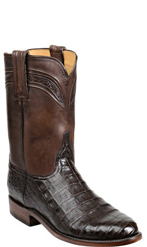 Custom Made Lucchese GY3010 WILSON Chocolate Ultra Belly Caiman Crocodile Boot for Women Size 7.5 B