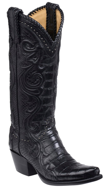 Lucchese SHERIDAN GY4000.S54 Womens Black Ultra Belly Caimain Crocodile Boots
