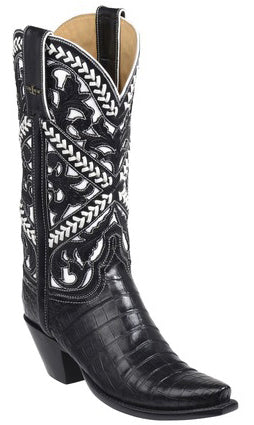 Lucchese SWEETWATER GY4004.S52F Womens Black Ultra Belly Caiman Crocodile Floral Boots