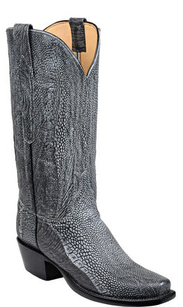 Lucchese GY4011 JORDAN Womens Graphite Grey Reversed Ostrich Leg Boots