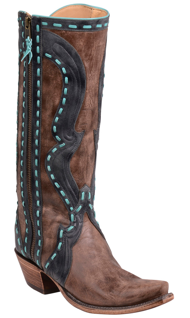 Lucchese HANA GY4503.S54 Destroyed Antique Brown Buffalo Triad Womens Boots