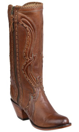 Lucchese HELENE GY4504.S82F Womens Cognac Burnished Ranch Hand Calfskin Boots