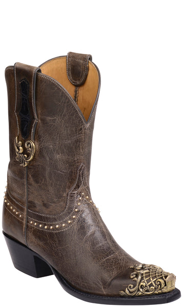 Lucchese CODY GY4509.S54 Womens Grey Charcoal Burnished Mad Dog Goat Boots