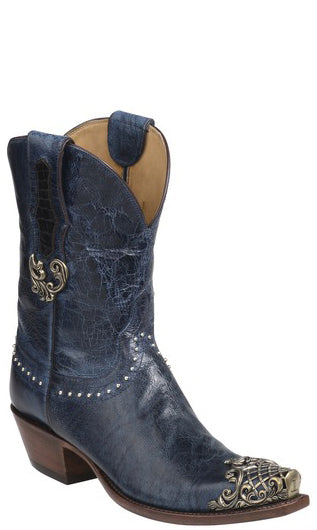 Lucchese CODYGY4510.S54  Womens Ocean Blue Burnished Mad Dog Goat Boots