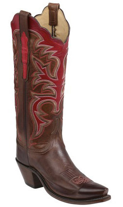 Lucchese SLOAN GY4519.S52F Womens Pecan Ranch Hand Calfskin Boots