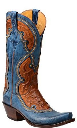 Lucchese Averill GY4532.S54 Womens Ocean Blue Mad Dog Goat Boots