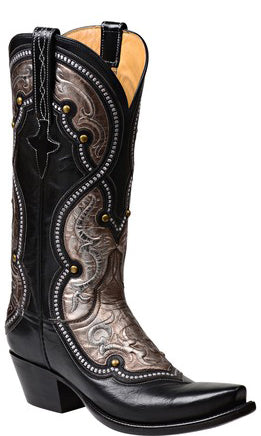Lucchese AVERILL GY4533 Womens Black Buffalo Boots