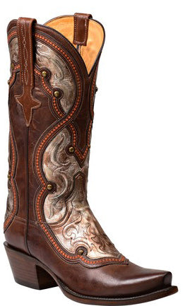 Lucchese GY4534.S54 Averill Pecan Burnished Ranch Hand Calfskin Womens Boots