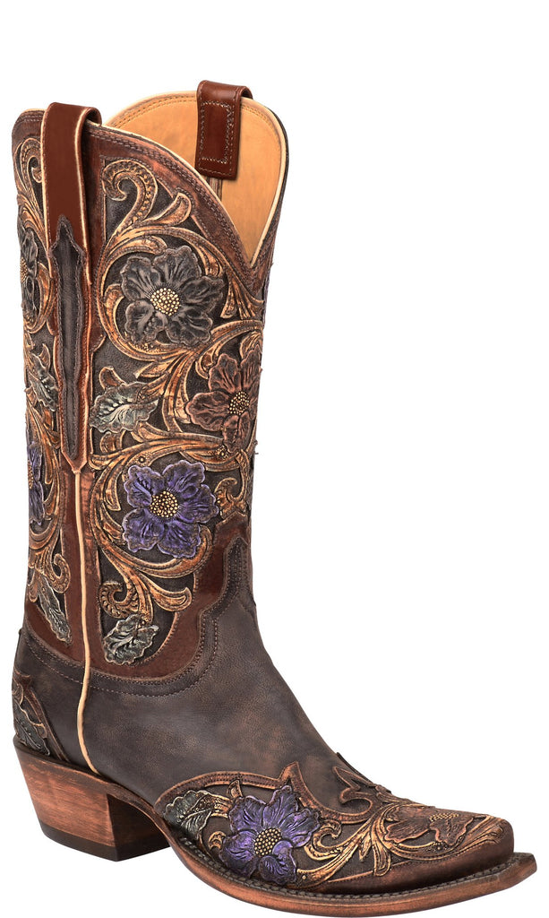 Lucchese Drea GY4541.S54 Womens Destroyed Dark Brown Goat Boots