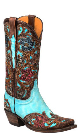Lucchese GY4542 DREA Womens Emerald Blue Goat Boots