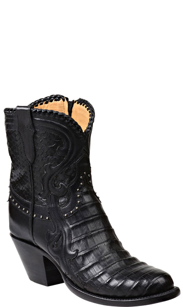 Lucchese GY7000.S82F MAGNOLIA Womens Black Ultra Belly Caiman Crocodile Short Boots