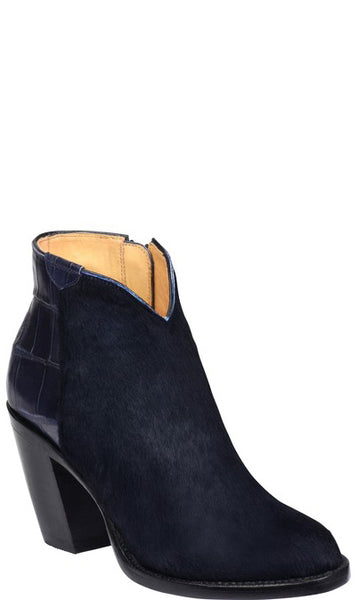 Lucchese GY7009 Jenna Womens Navy Hair on Calfskin and Giant Alligator Boots