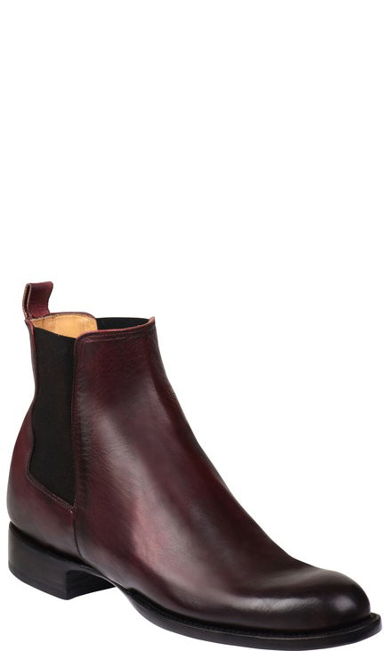 Lucchese GY8511 GRAYSON Mens Black Cherry Royal Calfskin Chelsea Boots