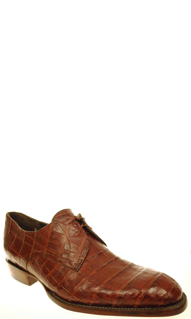 Lucchese GYL8057 Mens Sienna Brown Belly Caiman Crocodile Oxford Shoes Size 11 D STALL STOCK