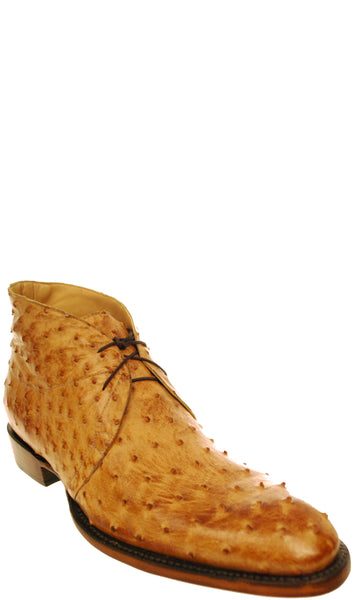Lucchese GYL8069 Mens Tan Burnished Full Quill Ostrich Oxford Shoes Size 11 D STALL STOCK
