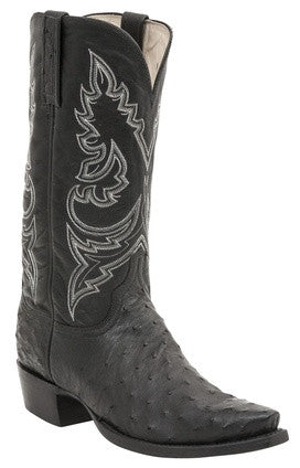 Lucchese H1001 BRYAN Black Full Quill Ostrich Mens Boots