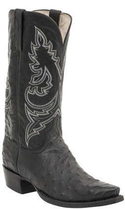 Lucchese BRYAN H1001 Mens Black Full Quill Ostrich Boots