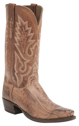 Lucchese H1007 ANSON Mens Brandy Burnished Ostrich Leg Boots