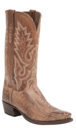 Lucchese ANSON H1007 Mens Brandy Burnished Ostrich Leg Boots