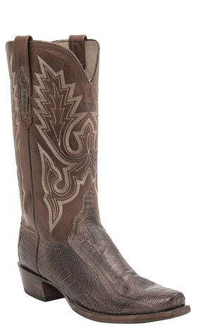 Lucchese ANSON H1008 Mens Chocolate Burnished Ostrich Leg Boots