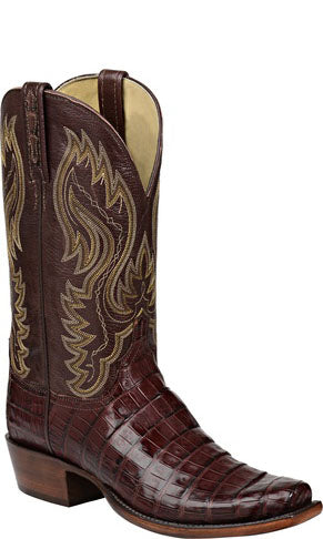 Lucchese H1014 LAWSON Mens Barrel Brown Ultra Belly Caiman Crocodile Tail Boots