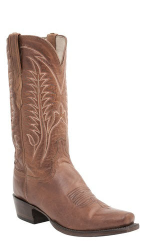 Lucchese BURNET H1506 Mens Cognac Burnished Ranch Hand Calfskin Boots