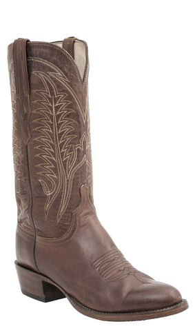 Lucchese BURNET H1508 Mens Tan Burnished Ranch Hand Calfskin Boots