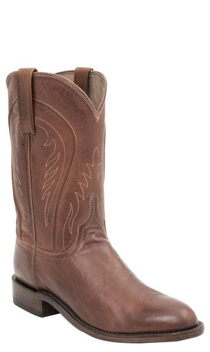 Lucchese NAVARRO H3502 Mens Cognac Burnished Ranch Hand Calfskin Boots