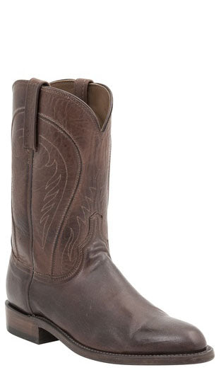 Lucchese NAVARRO HL3504.1R Mens Tan Burnished Ranch Hand Calfskin Boots Size 10.5 B STALL STOCK