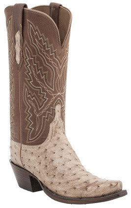 Lucchese H4003 EBERLY Womens Tan Burnished Full Quill Ostrich Boots