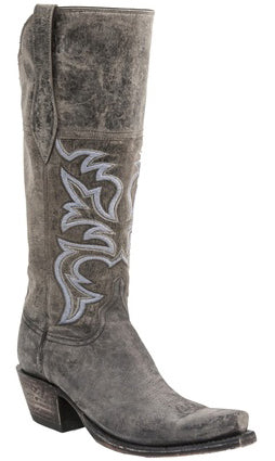 Lucchese H4504 MORGAN Womens Stonewash Anthracite Grey Mad Dog Goat Boots