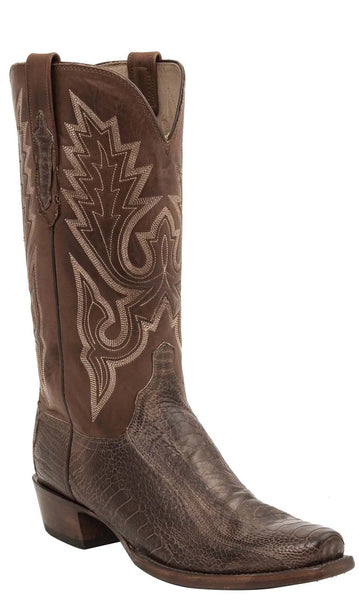 Lucchese ANSON HL1008.74 Mens Chocolate Burnished Ostrich Leg Boots