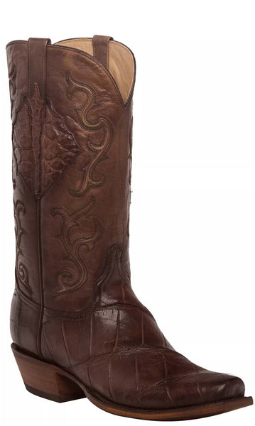 Lucchese ACE HL1031.73 Mens Antique Chocolate Giant American Alligator Boots