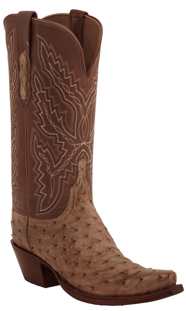 Lucchese EBERLY HL4003.73 Womens Tan Burnished Full Quill Ostrich Boots