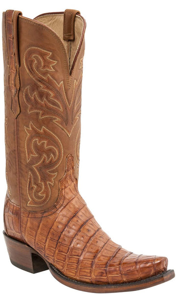 Lucchese  HL4014.S54 Womens Cognac Burnished Ultra Belly Caiman Crocodile Tail Boots