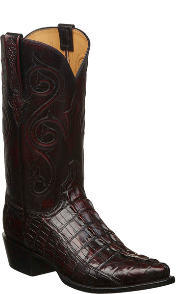 Lucchese KD1008.53 Mens Black Cherry Nile Crocodile Tail Cut Boots