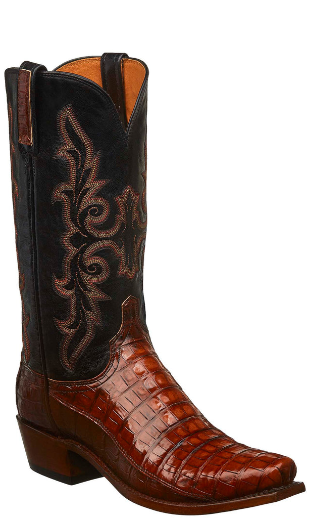 Lucchese KD1011.73 Mens Rust Brown Caiman Crocodile Belly Boots