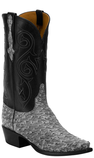 Lucchese KD1027.53 Mens Grey Full Quill Ostrich Boots