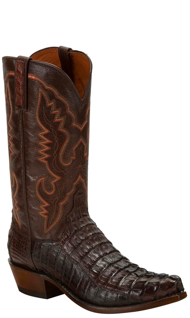 Lucchese KD1032.53 Mens Sienna Brown Hornback Crocodile Tail Cut Boots