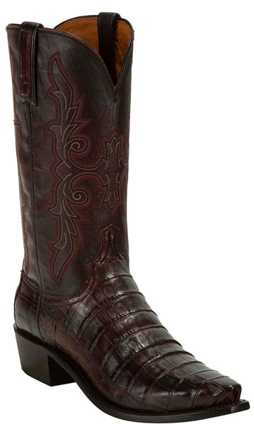 Lucchese KD1033.53 Mens Black Cherry Hornback Crocodile Tail Cut Boots
