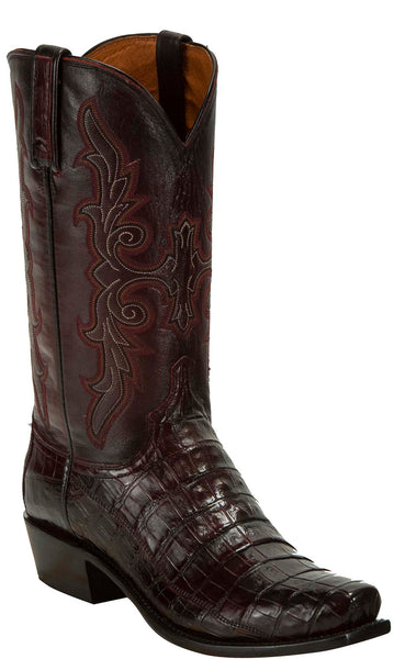 Lucchese KD1033.73 Mens Black Cherry Hornback Crocodile Tail Cut Boots