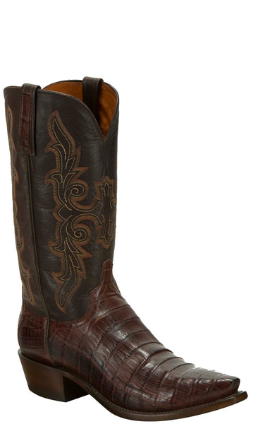 Lucchese KD1034.53 Mens Barrel Brown Hornback Crocodile Tail Cut Boots
