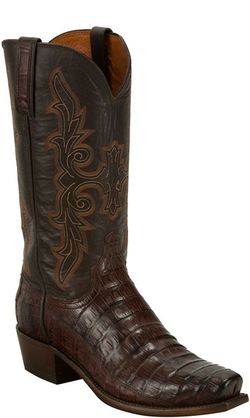 Lucchese KD1034.73 Mens Barrel Brown Hornback Crocodile Tail Cut Boots