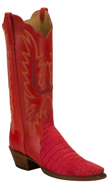 Lucchese KD4011.54 Womens Red Caiman Crocodile Belly Boots