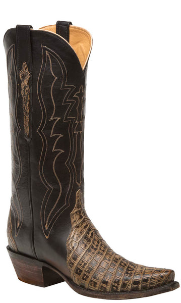 Lucchese KD4017.S54 Womens Brown/Black Nile Crocodile Boots