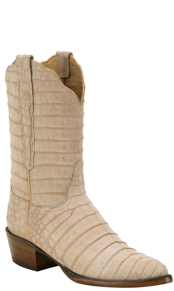 Lucchese KD4025.03 Womens White Caiman Crocodile Belly Boots