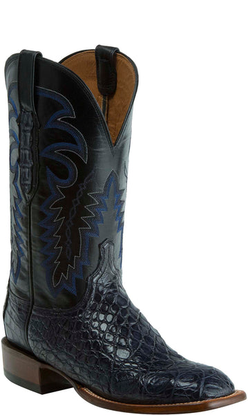 Lucchese KD6001.WF Mens Navy Blue Nile Crocodile Belly Boots